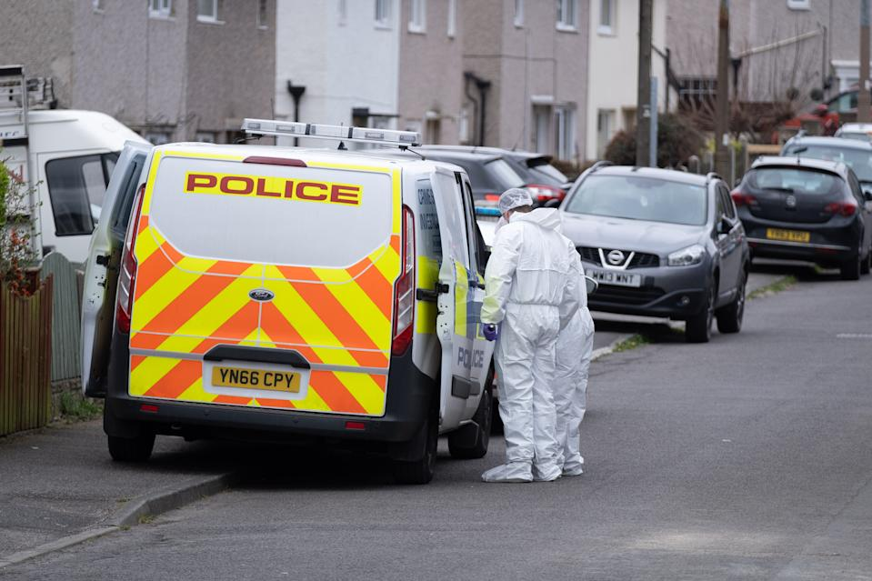 Police and forensics at the house in Barnsley. (Tom Maddick/SWNS)