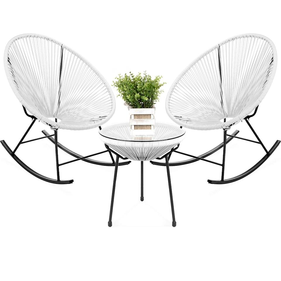 <p>The <span>Best Choice Products 3-Piece All-Weather Patio Woven Rope Acapulco Bistro Furniture Set w/ Rocking Chairs, Table</span> ($235) comes with two rocking chairs and a table. It comes in white, black, gray, and electic blue.</p>
