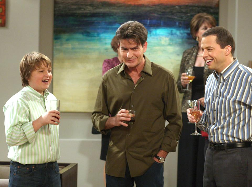 Charlie Sheen, middle, appears alongside Angus T. Jones and Jon Cryer in a 2007 episode of