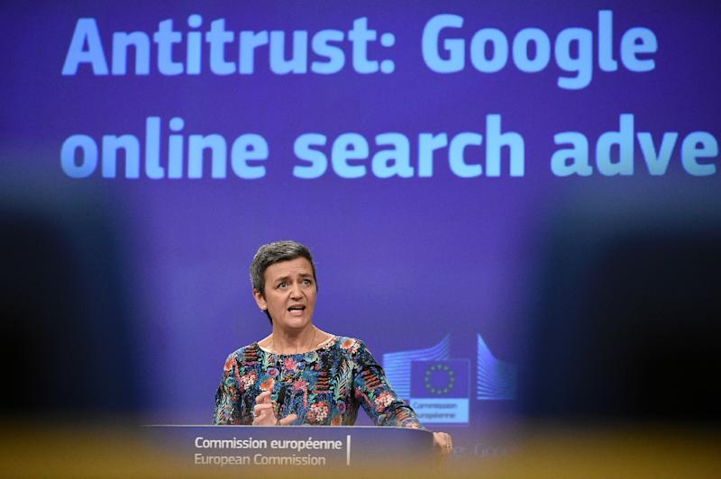 The European Union, whose Commissioner of Competition Margrethe Vestager is seen here, has fined Google for antitrust violations, in a probe that could be used by US enforcement officials (AFP Photo/John THYS)