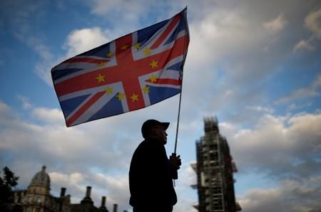 Anti-Brexit protester demonstrates outside the Houses of Parliament in London