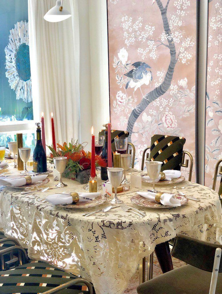 """<p>When designing a table for a special occasion, North Carolina-based designer <a href=""""https://charlottelucasdesign.com"""" rel=""""nofollow noopener"""" target=""""_blank"""" data-ylk=""""slk:Charlotte Lucas"""" class=""""link rapid-noclick-resp"""">Charlotte Lucas</a> always looks to florals to set the tone: """"I have a wonderful florist here in Charlotte, <a href=""""https://www.nectarfloraldesigns.com"""" rel=""""nofollow noopener"""" target=""""_blank"""" data-ylk=""""slk:Nectar"""" class=""""link rapid-noclick-resp"""">Nectar</a>, who creates the most beautiful and unique arrangements,"""" Lucas says. """"I simply provide the vase, and they surprise me with a whimsical arrangement that immediately becomes my centerpiece!""""</p><p>For the table's linens and dinnerware, Lucas likes to incorporate old and new pieces, layers, and lots of texture, just like with her midcentury-leaning and colorful design work. Here, her grandmother's lace tablecloth lays the foundation for Thanksgiving dinner in her Charlotte home. """"Weaving these special heirlooms into the mix sparks conversation about the beloved family members who came before you and brings back all the wonderful memories you all shared at previous gatherings,"""" she says. """"Having the meaningful 'old' alongside the never-before-seen 'new' generates a wonderful combination of nostalgia for the past and excitement for the future.""""</p>"""