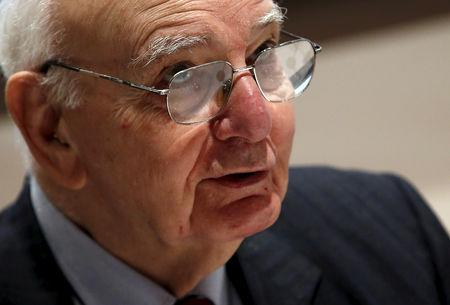 FILE PHOTO: Former U.S. Federal Reserve Board Chairman Paul A. Volcker speaks at a news conference in New York, June 8, 2015.  REUTERS/Mike Segar/File photo