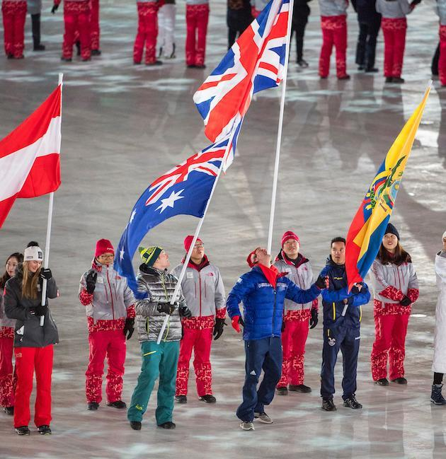 Billy Morgan carries the British flag on his chin during the Olympic closing ceremony in PyeongChang (picture Andy J Ryan/Team GB)