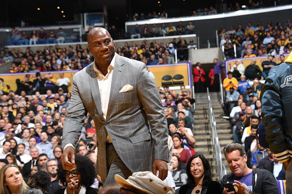 LOS ANGELES, CA - NOVEMBER 7: Magic Johnson looks on during the game between the Los Angeles Lakers and Minnesota Timberwolves  on November 7, 2018 at STAPLES Center in Los Angeles, California. NOTE TO USER: User expressly acknowledges and agrees that, by downloading and/or using this Photograph, user is consenting to the terms and conditions of the Getty Images License Agreement. Mandatory Copyright Notice: Copyright 2018 NBAE (Photo by Andrew D. Bernstein/NBAE via Getty Images)