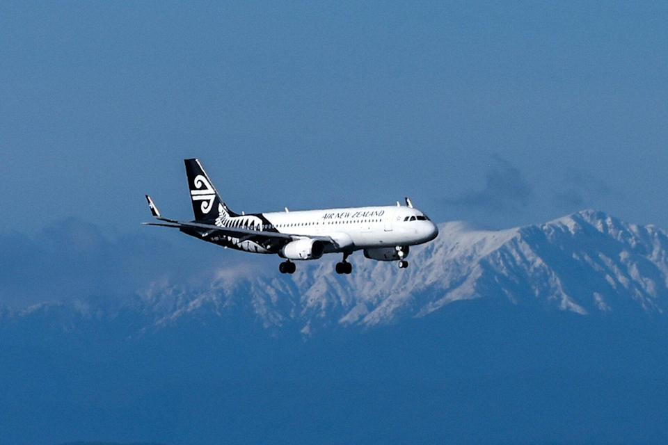 Air New Zealand plane preparing to land on the Wellington Airport in Wellington, New Zealand.