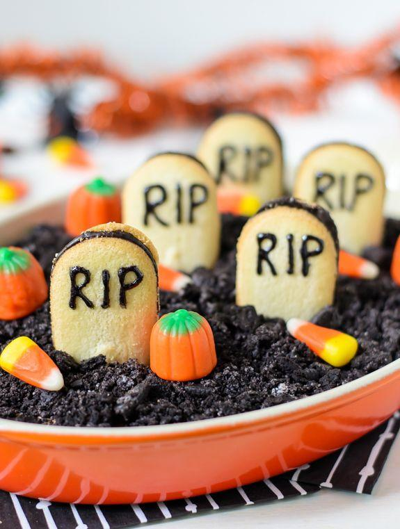 """<p>Turn cookies into gravestones for this crazy good cheesecake dip.</p><p>Get the recipe from <a href=""""http://www.wellplated.com/chocolate-cheesecake-dip/?crlt.pid=camp.MVFfhAjGoXte"""" rel=""""nofollow noopener"""" target=""""_blank"""" data-ylk=""""slk:Well Plated"""" class=""""link rapid-noclick-resp"""">Well Plated</a>.</p>"""