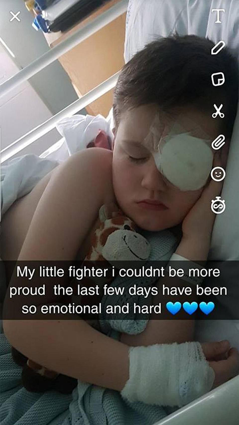 Boy blinded in accident: Taylor (pictured) was first shot in the eye with a toy arrow aged three.
