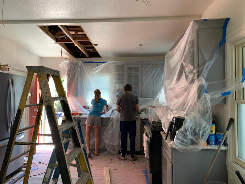 How clean is the air as the family makes lunch during renovations?