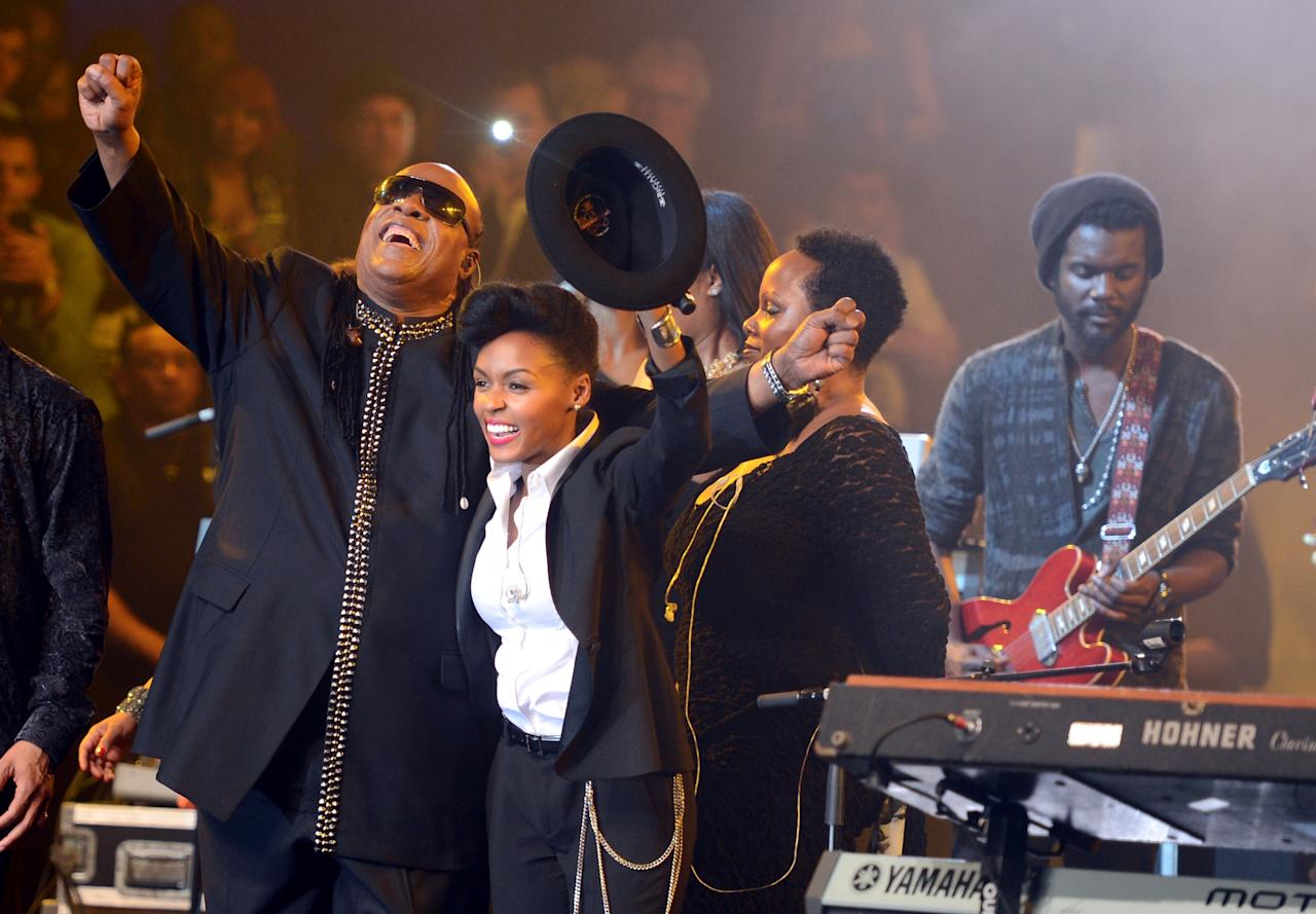 NEW ORLEANS, LA - FEBRUARY 02:  Musicians Stevie Wonder, Janelle Monae and Gary Clark Jr. (far right) perform onstage at Bud Light Presents Stevie Wonder and Gary Clark Jr. at the Bud Light Hotel on February 2, 2013 in New Orleans, Louisiana.  (Photo by Stephen Lovekin/Getty Images for Bud Light)