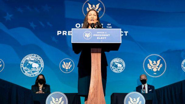 PHOTO: Rep. Deb Haaland delivers remarks after being introduced as US President-elect Joe Bidens nominee to be the next US Secretary of Interior at the Queen Theater in Wilmington, Del., Dec. 19, 2020. (Alex Edelman/AFP via Getty Images)