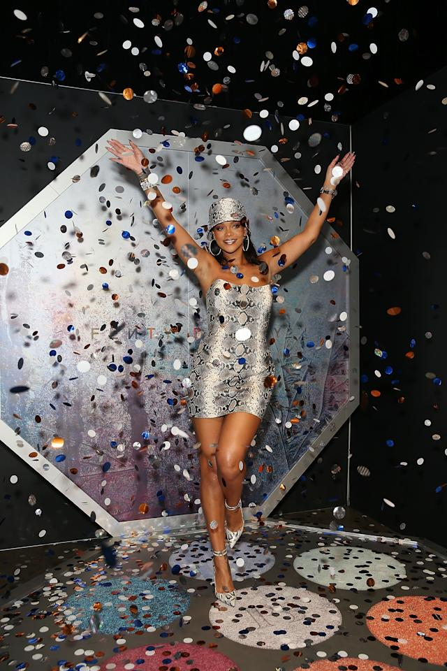 """<p>The event, which was hosted by Sephora and Fenty Beauty, was decorated in a full Fenty theme. Rihanna even grabbed a photo in the oversized version of her new 'Chill Owt"""" Killawatt Foil Freestyle Highlighter Palette, which saw her throwing shimmery confetti in the air. Photo: Getty Images </p>"""