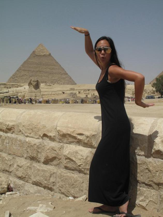 Celebrity photos: To say we're a bit jel of Myleene Klass' holiday to Egypt would be an understatement. The star tweeted this image of herself at the pyramids. We are loving the maxi dress, too.