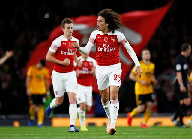 """Soccer Football - Premier League - Arsenal v Wolverhampton Wanderers - Emirates Stadium, London, Britain - November 11, 2018 Arsenal's Matteo Guendouzi celebrates their first goal REUTERS/Eddie Keogh EDITORIAL USE ONLY. No use with unauthorized audio, video, data, fixture lists, club/league logos or """"live"""" services. Online in-match use limited to 75 images, no video emulation. No use in betting, games or single club/league/player publications. Please contact your account representative for further details."""