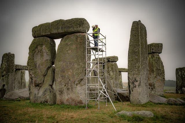 Scaffolding has been erected inside the stone circle (Ben Birchall/PA).