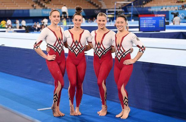PHOTO: Sarah Voss, Pauline Schaefer-Betz, Elisabeth Seitz and Kim Bui from Germany stand together after the competition at the Tokyo Olympics, July 25, 2021. (picture alliance via Getty Images)