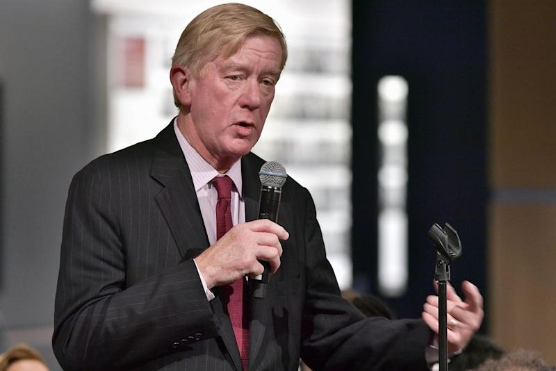 Former Massachusetts Governor William Weld asks a question of Martha Raddatz who received the Goldsmith Career Award for Excellence in Journalism at Harvard University' Shorenstein Center on Media, Politics and Public Policy on March 6, 2018 in Cambridge, Massachusetts. | Paul Marotta Getty Images