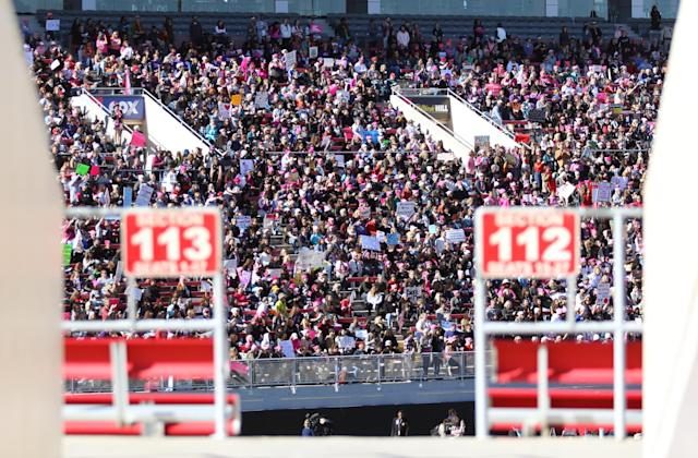 <p>The women filled about half of Sam Boyd Stadium for the Power to the Polls event on Sunday. (Photo: Ronda Churchill for Yahoo Lifestyle) </p>