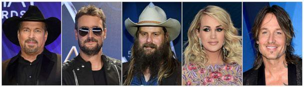 PHOTO: Nominees for Entertainer of the Year, from left, Garth Brooks, Eric Church, Chris Stapleton, Carrie Underwood and Keith Urban, will compete at the Country Music Association Awards, Nov. 13, 2019. (AP)