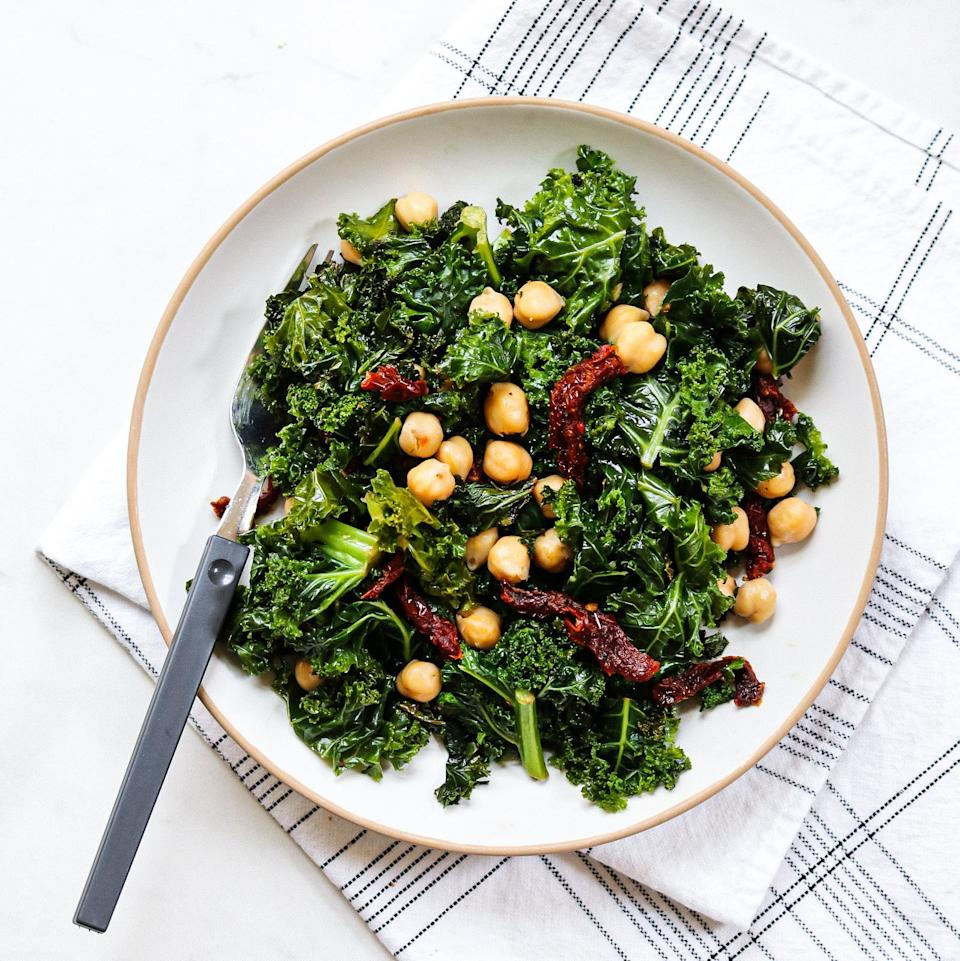 """<p>Oil-packed sun-dried tomatoes pull double duty in this recipe. Use the oil from the jar to cook the kale, then stir in the sun-dried tomatoes to add flavor and texture to the dish. <a href=""""https://www.eatingwell.com/recipe/7915176/3-ingredient-chickpeas-with-kale-sun-dried-tomatoes/"""" rel=""""nofollow noopener"""" target=""""_blank"""" data-ylk=""""slk:View Recipe"""" class=""""link rapid-noclick-resp"""">View Recipe</a></p>"""
