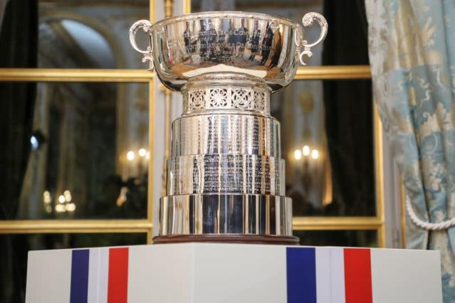 FILE PHOTO: A general view of the Fed Cup's trophy displayed during a reception at the Elysee Presidential Palace in Paris