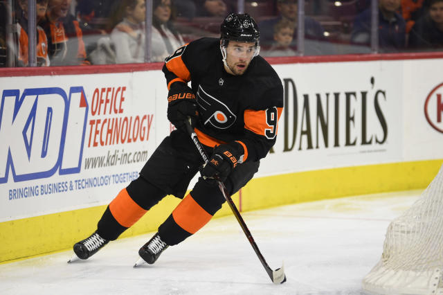 FILE - In this March 31, 2019, file photo, Philadelphia Flyers' Ivan Provorov is shown during an NHL hockey game against the New York Rangers, in Philadelphia. The Flyers signed defenseman Ivan Provorov to a six-year, $40.5 million contract, Friday, Sept. 13, 2019. (AP Photo/Derik Hamilton, File)