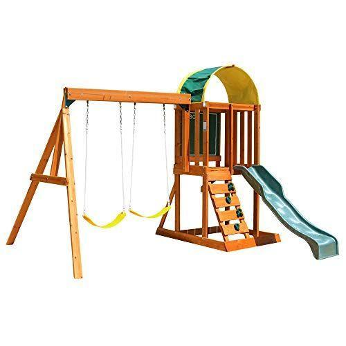 """<p><strong>KidKraft</strong></p><p>amazon.com</p><p><strong>$419.00</strong></p><p><a href=""""https://www.amazon.com/dp/B004QE810W?tag=syn-yahoo-20&ascsubtag=%5Bartid%7C10055.g.35853477%5Bsrc%7Cyahoo-us"""" rel=""""nofollow noopener"""" target=""""_blank"""" data-ylk=""""slk:Shop Now"""" class=""""link rapid-noclick-resp"""">Shop Now</a></p><p>This swing set is <strong>built to hold up to seven children at once</strong><strong> across its two swings, slide, rock wall, canopy-covered top deck</strong> (complete with an interior chalkboard) and lower-level sandbox. It's crafted with pre-stained cedar, which naturally resists mold and rot, and boasts a more modest price point than other comparable play sets.</p><p><em>Assembled dimensions: 10'3 x 9' x 7'11</em></p>"""