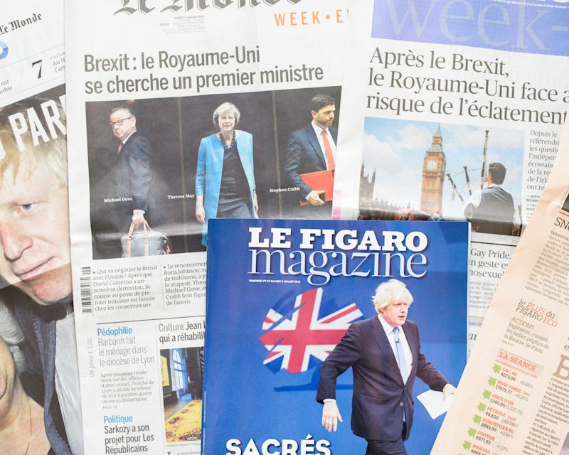 Antibes, France - July 2, 2016: French newspapers react to post-Brexit UK Political fallout. Le Monde and Figaro week-end editions' front pages cover the week's political upheaval in the UK following the Brexit vote: Brexit: United Kingdom looks for new prime minister (Le Monde); After Brexit, United Kingdom faces risk of breakup (Figaro).