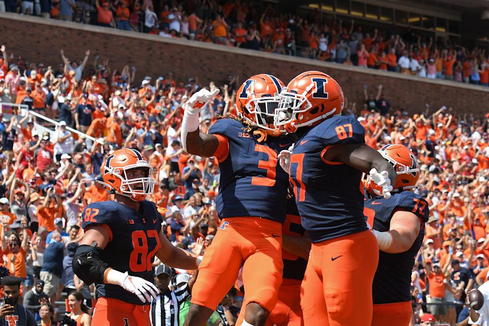Illinois Fighting Illini running back Jakari Norwood (3) and tight end Daniel Barker (87) celebrate in the end zone during a win over Nebraska. (Photo by Michael Allio/Icon Sportswire via Getty Images)