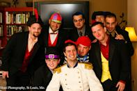 photo by:Shari Photography<br> The groomsmen as classic Disney villains: From left to right: Jafar (from Aladin), Tweedle Dee (Alice in Wonderland), Hades (Hercules), Frollo (The Hunchback of Notre Dame), Scar (The Lion King). Second row: Governor Ratcliffe (Pocahontas), Mr. Smee (Captain Hook), Gaston (Beauty and the Beast), and the groom Prince Eric.