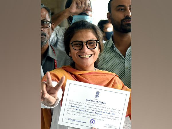 TMC candidate Sushmita Dev receives a winning certificate after being elected for West Bengal Rajya Sabha bypoll, in Kolkata on Monday (Photo/ANI)