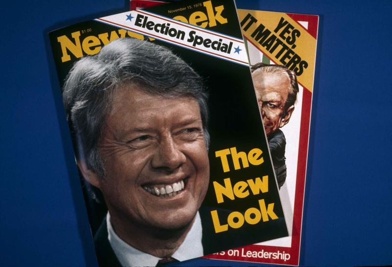FILE - In this Nov. 1, 1976, file photo, covers of Newsweek magazine are photographed in New York. Newsweek announced Thursday, Oct. 18, 2012 that it will end its print publication after 80 years and shift to an all-digital format in early 2013. Its last U.S. print edition will be its Dec. 31 issue. The paper version of Newsweek is the latest casualty of a changing world where readers get more of their information from websites, tablets and smartphones. It's also an environment in which advertisers are looking for less expensive alternatives online. (AP Photo/Suzanne Vlamis)