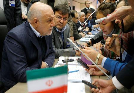 FILE PHOTO: Iran's Oil Minister Zanganeh talks to journalists during an OPEC meeting in Vienna
