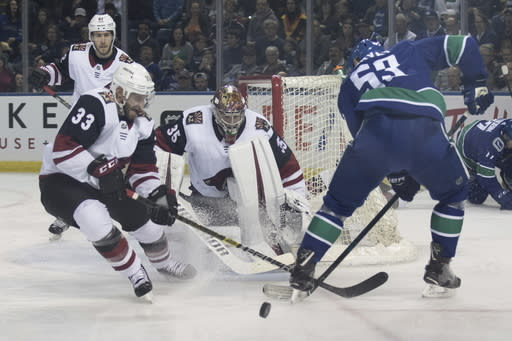 Arizona Coyotes goaltender Darcy Kuemper (35) keeps his eyes on the puck as Coyotes defensemen Alex Goligoski (33) clears the puck from Vancouver Canucks' Bo Horvat (53) during the first period of an NHL hockey preseason game Saturday, Sept. 29, 2018, in Kelowna, British Columbia. (Jeff Bassett/The Canadian Press via AP)