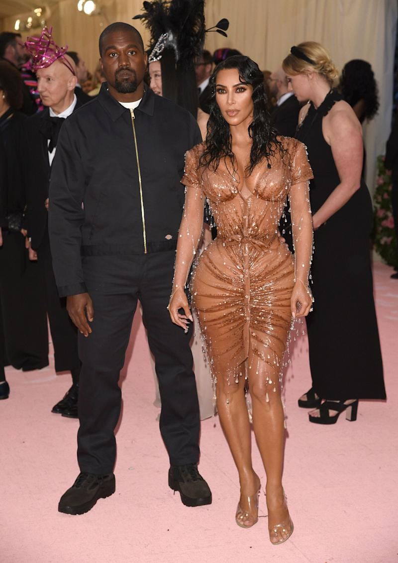 "Kanye West, left, and Kim Kardashian attend The Metropolitan Museum of Art's Costume Institute benefit gala celebrating the opening of the ""Camp: Notes on Fashion"" exhibition on Monday, May 6, 2019, in New York. (Photo by Evan Agostini/Invision/AP)"