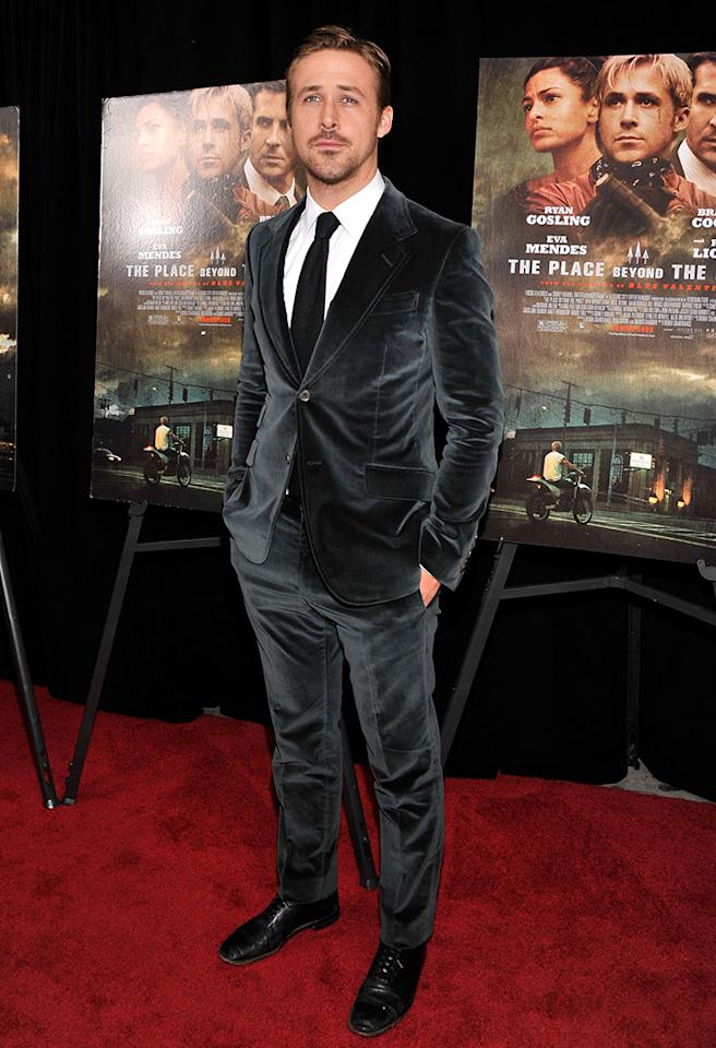 "Who: Ryan Gosling<br>Wearing: Gucci<br>Where: ""The Place Beyond the Pines"" New York premiere"