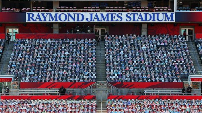 Fan cardboard cut-outs are seen in the seats before Super Bowl LV between the Tampa Bay Buccaneers and the Kansas City Chiefs at Raymond James Stadium on February 07, 2021