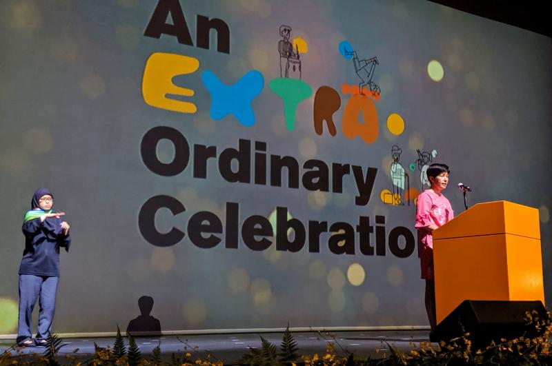 Second Minister for Education Indranee Rajah speaking before the start of the An Extra.Ordinary Celebration concert on 8 November, 2019. (PHOTO: Wong Casandra/Yahoo News Singapore)
