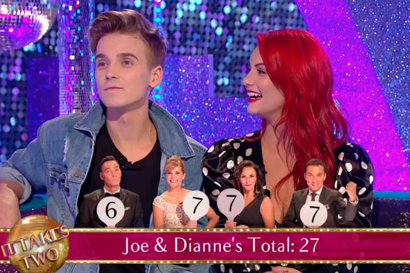 Guests: Joe Sugg and Dianne Buswell joined Zoe Ball on It Takes Two (BBC)