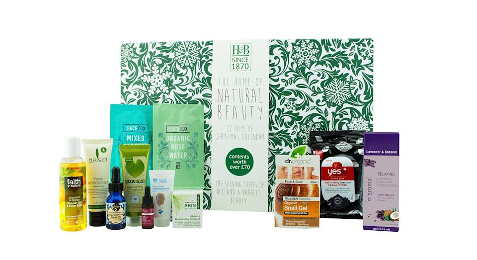 <p>For the first time, Holland & Barrett's jumping on board the beauty advent calendar bandwagon. Containing a dozen top selling brands, each entirely free from parabens, micro plastics and SLS, this calendar is ideal for those who like to shop ethically. <em>Available at Holland & Barrett from 18 October.</em> </p>