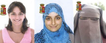 Maria Giulia Sergio known by her alias Fatima Az-Zahra is seen in these undated photos released by Italian police