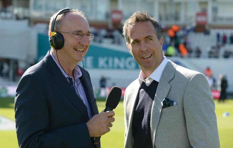 Jonathan Agnew (left) works on the BBC radio broadcast Test Match Special. (Credit: Getty Images)