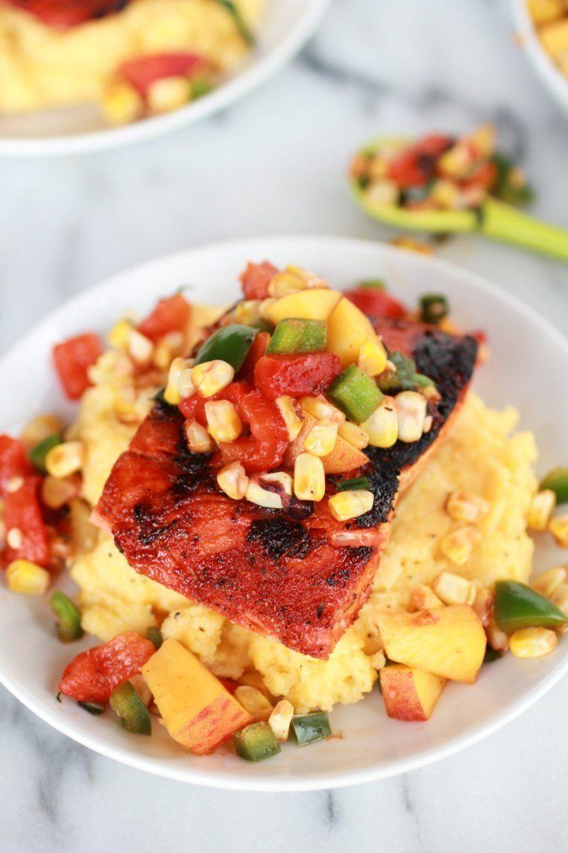 """<strong>Get the <a href=""""http://www.halfbakedharvest.com/blackened-salmon-with-cheesy-polenta-and-spicy-peach-chard-corn-salsa/"""" target=""""_blank"""">Blackened Salmon with Cheesy Polenta recipe</a> from Half Baked Harvest</strong>"""
