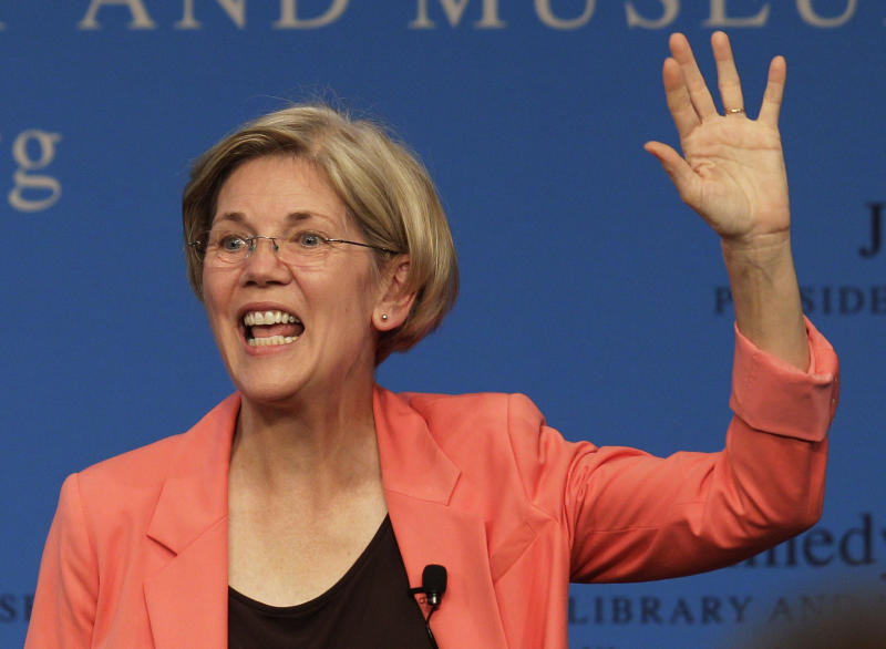 FILE - In this July 17, 2012, file photo, Massachusetts Democratic candidate for the U.S. Senate Elizabeth Warren waves to voters at the conclusion of a forum at the John F. Kennedy Presidential Library and Museum in Boston. Democrats are counting on their New England friends to help them pick up Republican-held Senate seats on Nov. 6 and construct a barrier against losses in Nebraska and elsewhere that could erase their majority. In Massachusetts, Republican Sen. Scott Brown is suddenly considered the underdog against Warren as the state is poised to easily back President Barack Obama over former Gov. Mitt Romney. (AP Photo/Stephan Savoia, File)