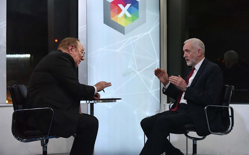 Andrew Neil (left) with Labour Party leader Jeremy Corbyn during a BBC interview - Jeff Overs/BBC/PA
