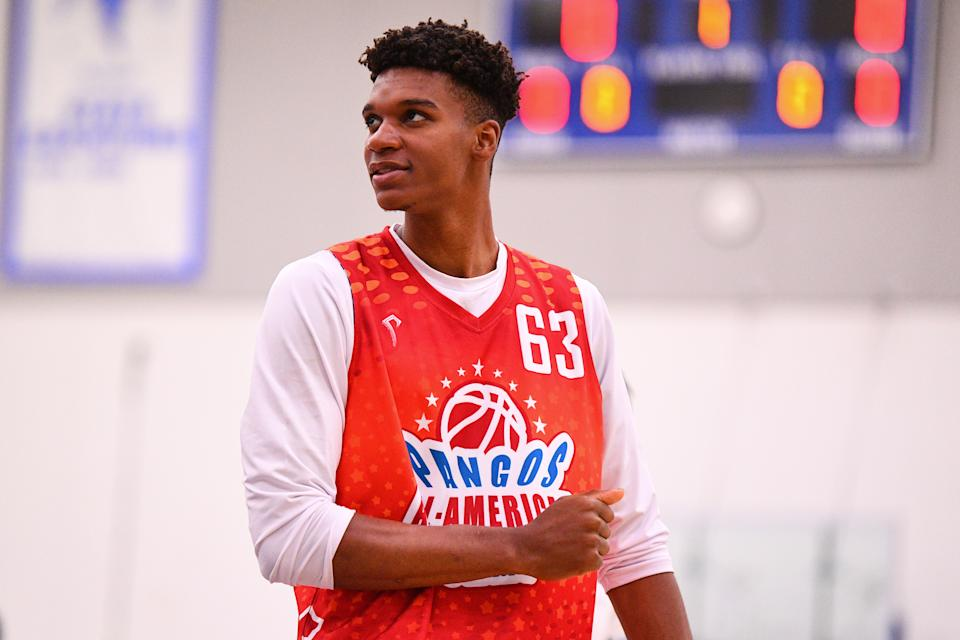 NORWALK, CA - JUNE 02: Isaiah Todd from Trinity High School looks on during the Pangos All-American Camp on June 2, 2019 at Cerritos College in Norwalk, CA. (Photo by Brian Rothmuller/Icon Sportswire via Getty Images)