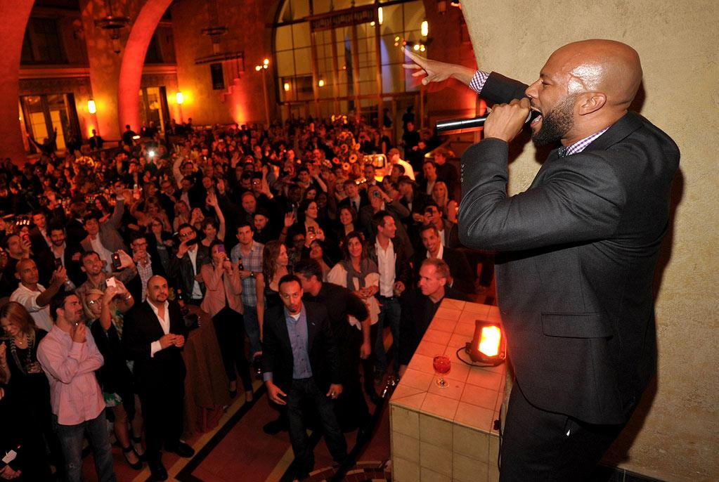 "<a href=""/common/contributor/71061"">Common</a> performs at the after party for the premiere of AMC's ""<a href=""/hell-on-wheels/show/47016"">Hell on Wheels</a>"" at Union Station on October 27, 2011 in Los Angeles, California."
