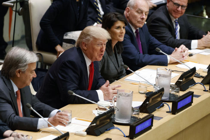 """<p>President Donald Trump speaks during the """"Reforming the United Nations: Management, Security, and Development"""" meeting during the United Nations General Assembly, Monday, Sept. 18, 2017, in New York. From left, UN Secretary General Antonio Guterres, Trump, UN Ambassador Nicky Haley, White House chief of staff John Kelly, and National Security Adviser H.R. McMaster. (Photo: Evan Vucci/AP) </p>"""