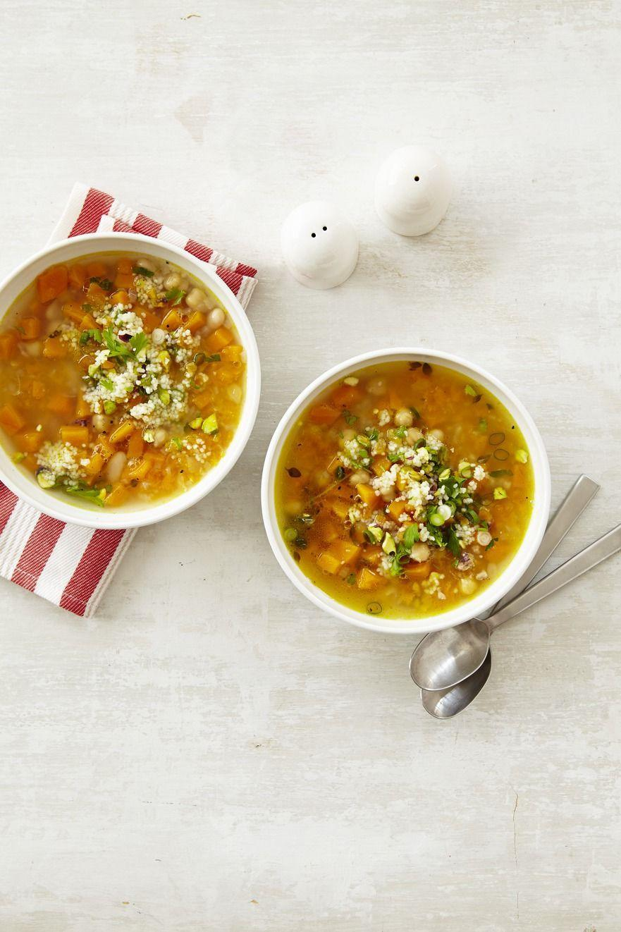 """<p>A hearty soup like this is anything but boring. This colorful soup is full of tasty veggies and packed with protein, too. </p><p><em><a href=""""https://www.womansday.com/food-recipes/food-drinks/recipes/a12874/butternut-squash-white-bean-soup-recipe-wdy1014/"""" rel=""""nofollow noopener"""" target=""""_blank"""" data-ylk=""""slk:Get the Butternut Squash and White Bean Soup recipe."""" class=""""link rapid-noclick-resp"""">Get the Butternut Squash and White Bean Soup recipe. </a></em></p>"""
