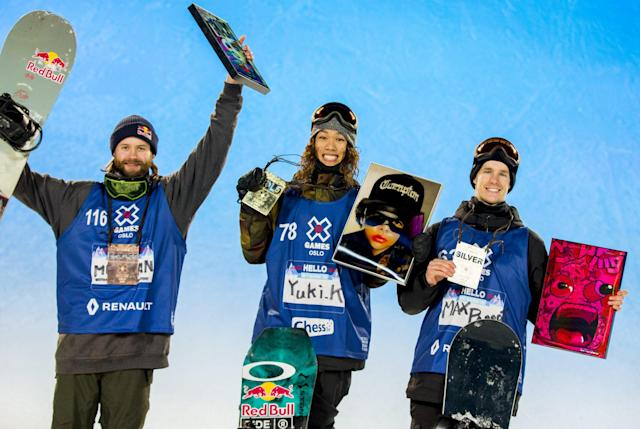 Winner Yuki Kadono from Japan poses with silver medallist Max Parrot from Canada and bronze medallist Billy Morgan from Britain after the X Games Oslo 2016 Men's Snowboard Big Air February 27, 2016. REUTERS/Vegard Wivestad Grott/NTB Scanpix ATTENTION EDITORS - THIS IMAGE WAS PROVIDED BY A THIRD PARTY. FOR EDITORIAL USE ONLY. NOT FOR SALE FOR MARKETING OR ADVERTISING CAMPAIGNS. THIS PICTURE IS DISTRIBUTED EXACTLY AS RECEIVED BY REUTERS, AS A SERVICE TO CLIENTS. NORWAY OUT. NO COMMERCIAL OR EDITORIAL SALES IN NORWAY. NO COMMERCIAL SALES.